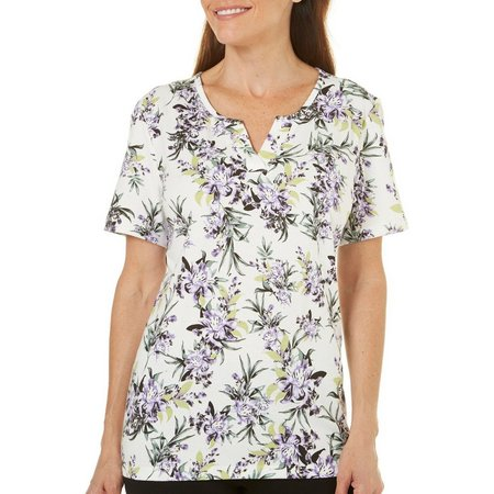 Coral Bay Womens With Love Purple Floral Print