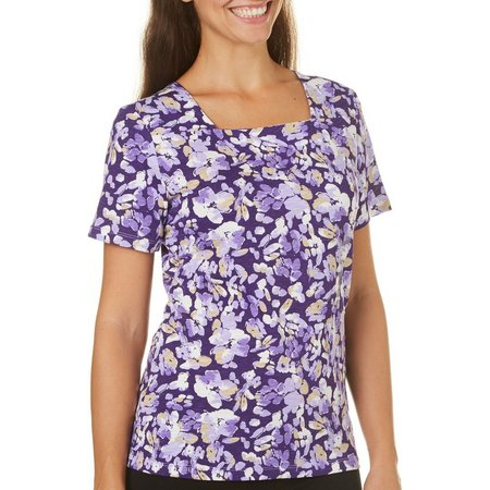 Coral Bay Womens With Love Flower Print Purple