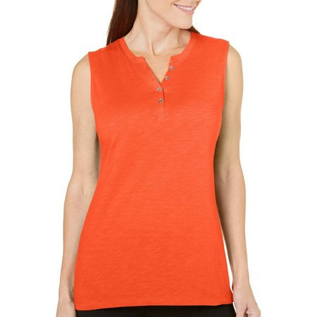 Coral Bay Womens Solid Henley Tank Top
