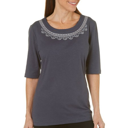 Coral Bay Womens Forever Sanibel Embroidered Top