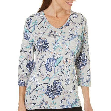 Coral Bay Womens Forever Sanibel Floral Print Top