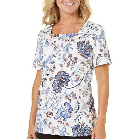 Coral Bay Womens Forever Sanibel Blue Floral Top