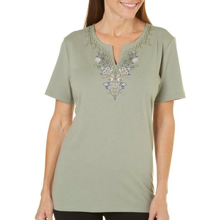 Coral Bay Womens Precious Oddities Embroidery Top