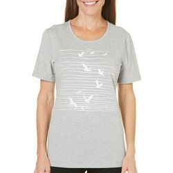 Coral Bay Womens Natural Coast Seagull Stripe Top