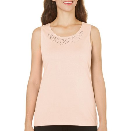 Coral Bay Womens Natural Coast Embellish Tank Top