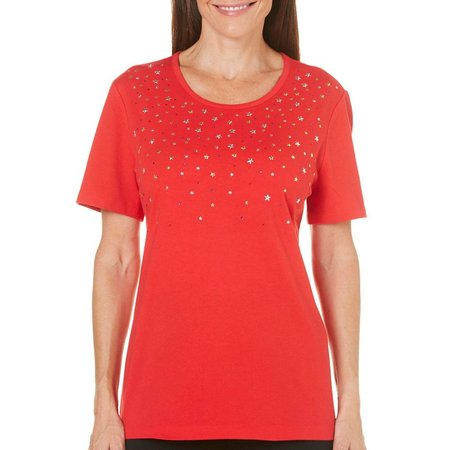 Coral Bay Womens Stars And Stripes Embellished Top