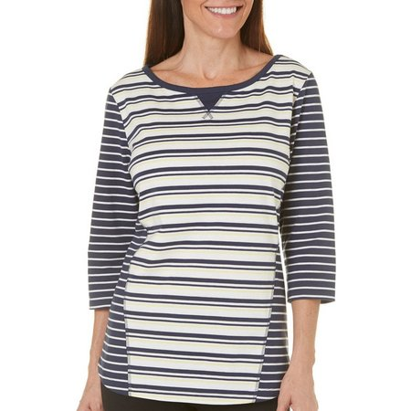 Coral Bay Womens Ocean Drive Striped Print Top
