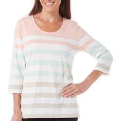 New! Coral Bay Womens Striped Scoop Neck Top
