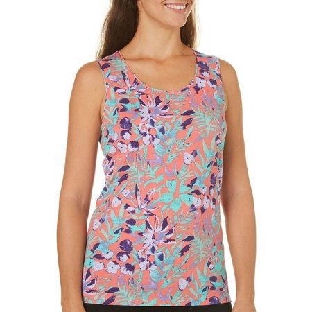 Coral Bay Womens With Love Floral Tank Top