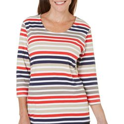 Coral Bay Womens Yacht Club Striped Scoop Neck