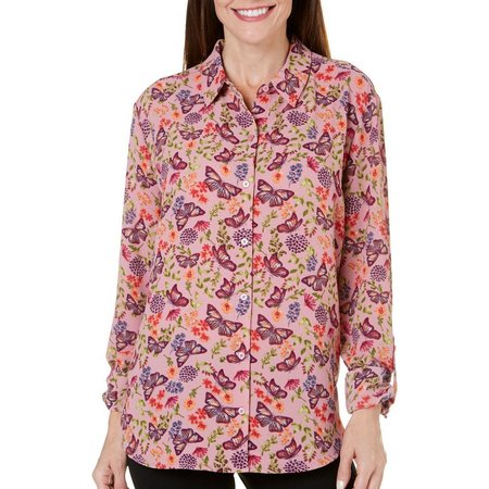 Coral Bay Womens Precious Oddities Mix Floral Top