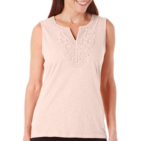 New! Coral Bay Womens Crochet Solid Tank Top