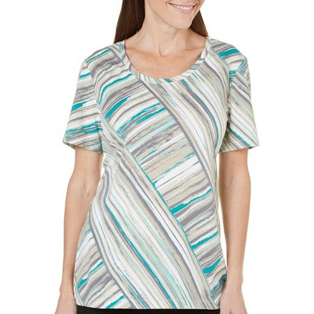 New! Coral Bay Womens Havana Diagonal Stripe Top