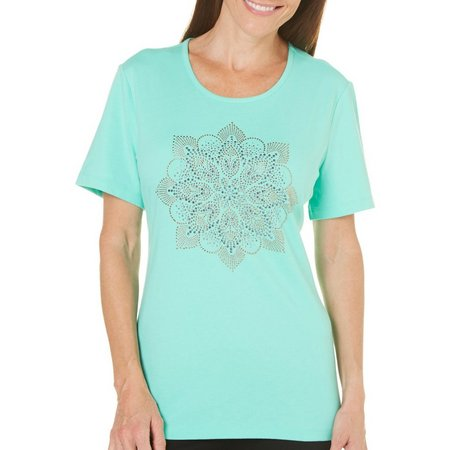 New! Coral Bay Womens Havana Embellished Medallion Top