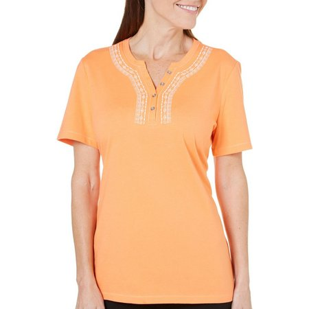Coral Bay Womens Havana Embroidered Henley Top