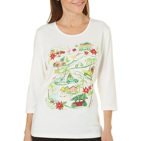 Coral Bay Womens Holiday Festive Print Top