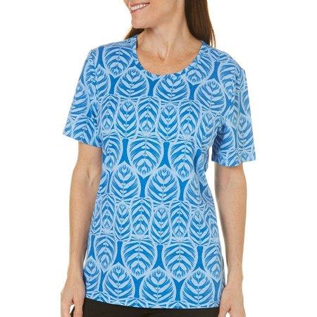 Coral Bay Womens Forever Sanibel Leaf Printed Top