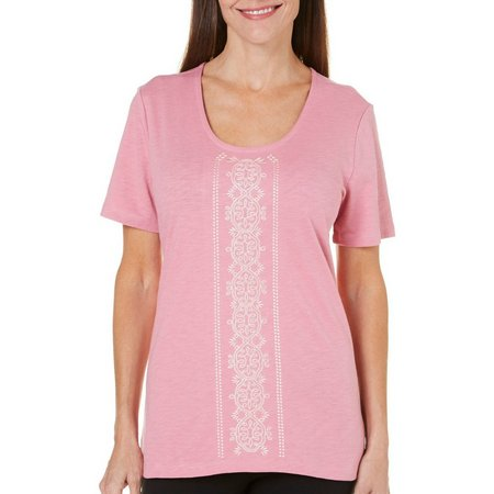 Coral Bay Womens Precious Oddities Embroidered Top