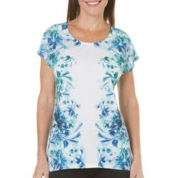 Coral Bay Womens Floral Print High-Low Top