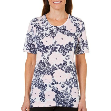 Coral Bay Womens Blue Floral Print Top