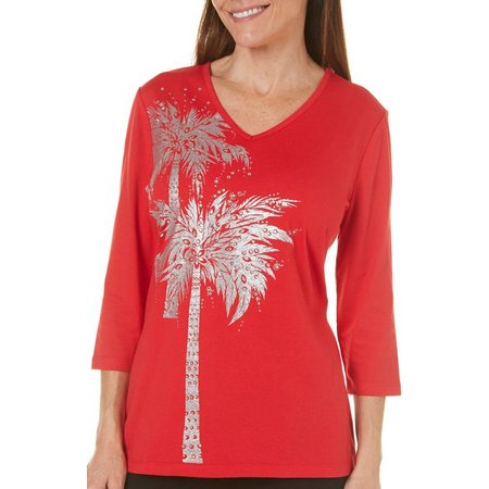 Coral Bay Womens Silver Palm Tree Top