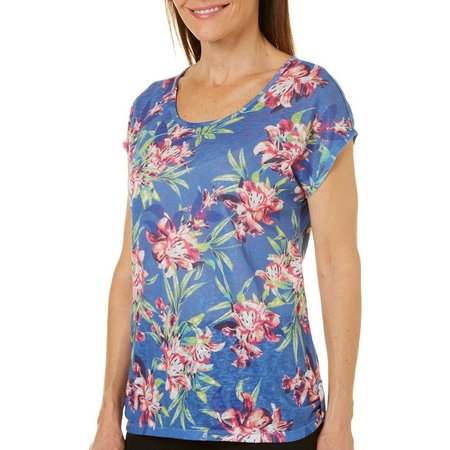 Coral Bay Womens Dolman Floral Top
