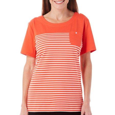 Coral Bay Womens Havana Stripe Pocket Top