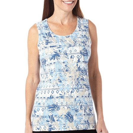 Coral Bay Womens Havana Leaf Print Tank Top