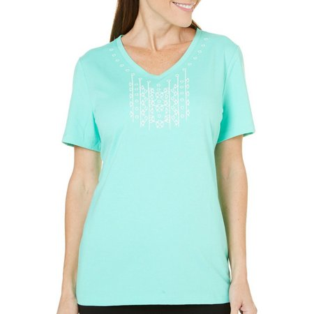 Coral Bay Womens Havana Emboridered V-neck Top