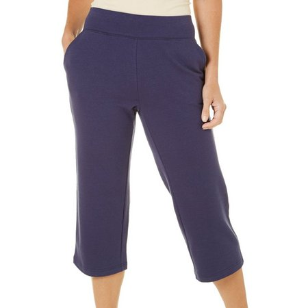 Coral Bay Womens French Terry Pull On Capris