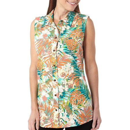 New! Coral Bay Womens Havana Palm Print Linen