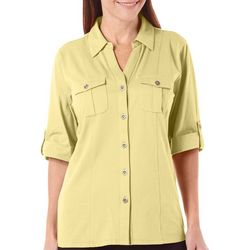 Coral Bay Womens Button Front Chest Pockets Top