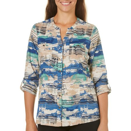Coral Bay Womens Linen Sketch Wave Print Top