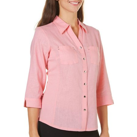 Coral Bay Womens Solid Button Front Top