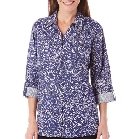 Coral Bay Womens Geometric Printed Woven Top