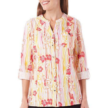 Coral Bay Womens Floral Stripe Button Front Top