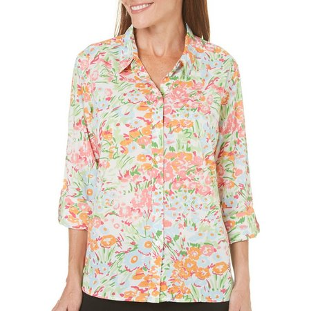 Coral Bay Womens Floral Roll Tab Sleeve Top