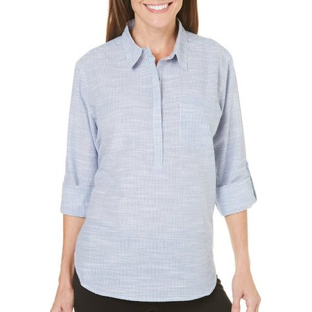 Coral Bay Womens Striped Chest Pocket Top