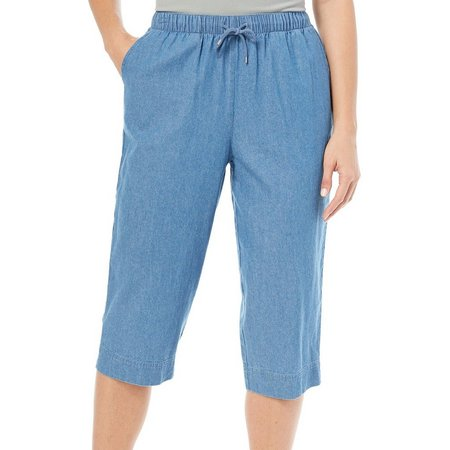 Coral Bay Womens Drawstring Denim Capris
