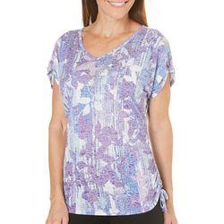 New! Erika Womens Floral Side Tie Embellished Top