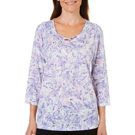 Erika Womens Burnout Printed Embellished Top