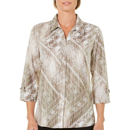 Erika Womens Vertical Stripes Overlay Print Button Front