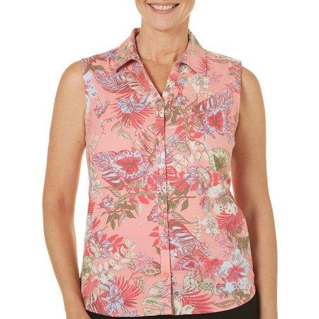 Erika Womens Floral Print Sleeveless Top