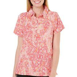 Gloria Vanderbilt Womens Annie Paisley Polo Shirt
