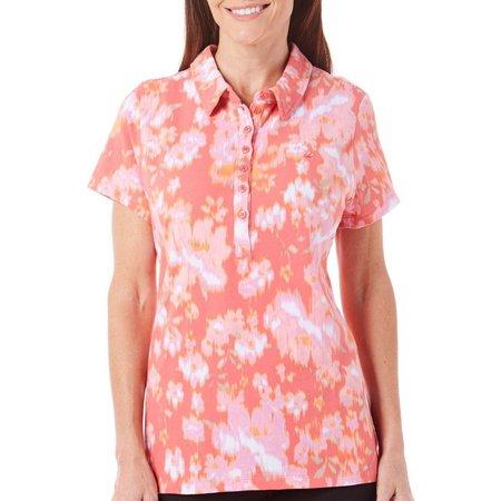 Gloria Vanderbilt Womens Annie Floral Polo Shirt