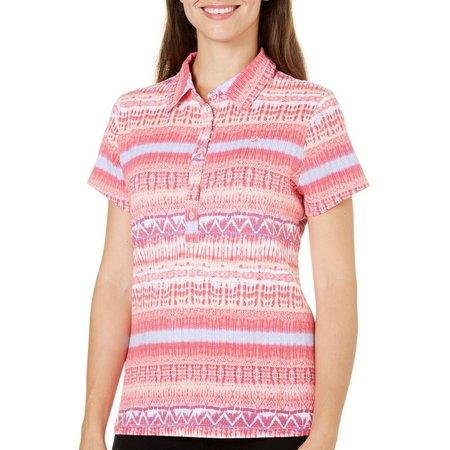 New! Gloria Vanderbilt Womens Annie Stripe Polo Shirt