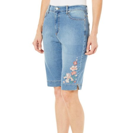 Gloria Vanderbilt Womens Amanda Embroidered Bermuda Shorts