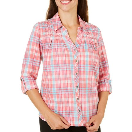 Gloria Vanderbilt Womens Mattie Sky Plaid Shirt