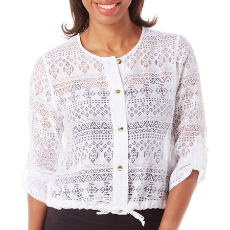 Hearts of Palm Womens Tribal Button Front Top