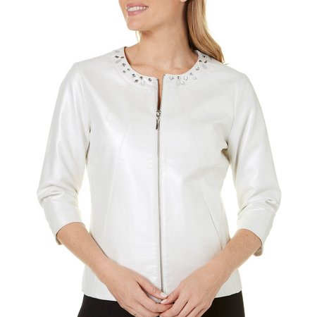 Hearts of Palm Womens Metallic Embellished Jacket